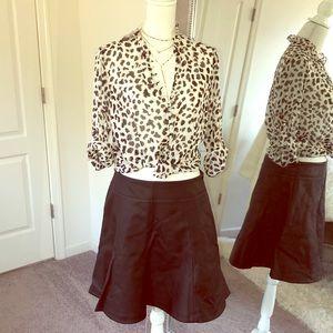 Leather like Skater Skirt Sz 12
